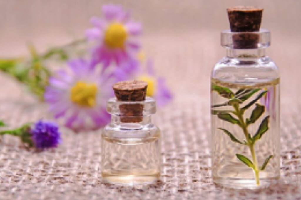 Two jars filled with liquid, one containing some herbs, with flowers visible in the background.